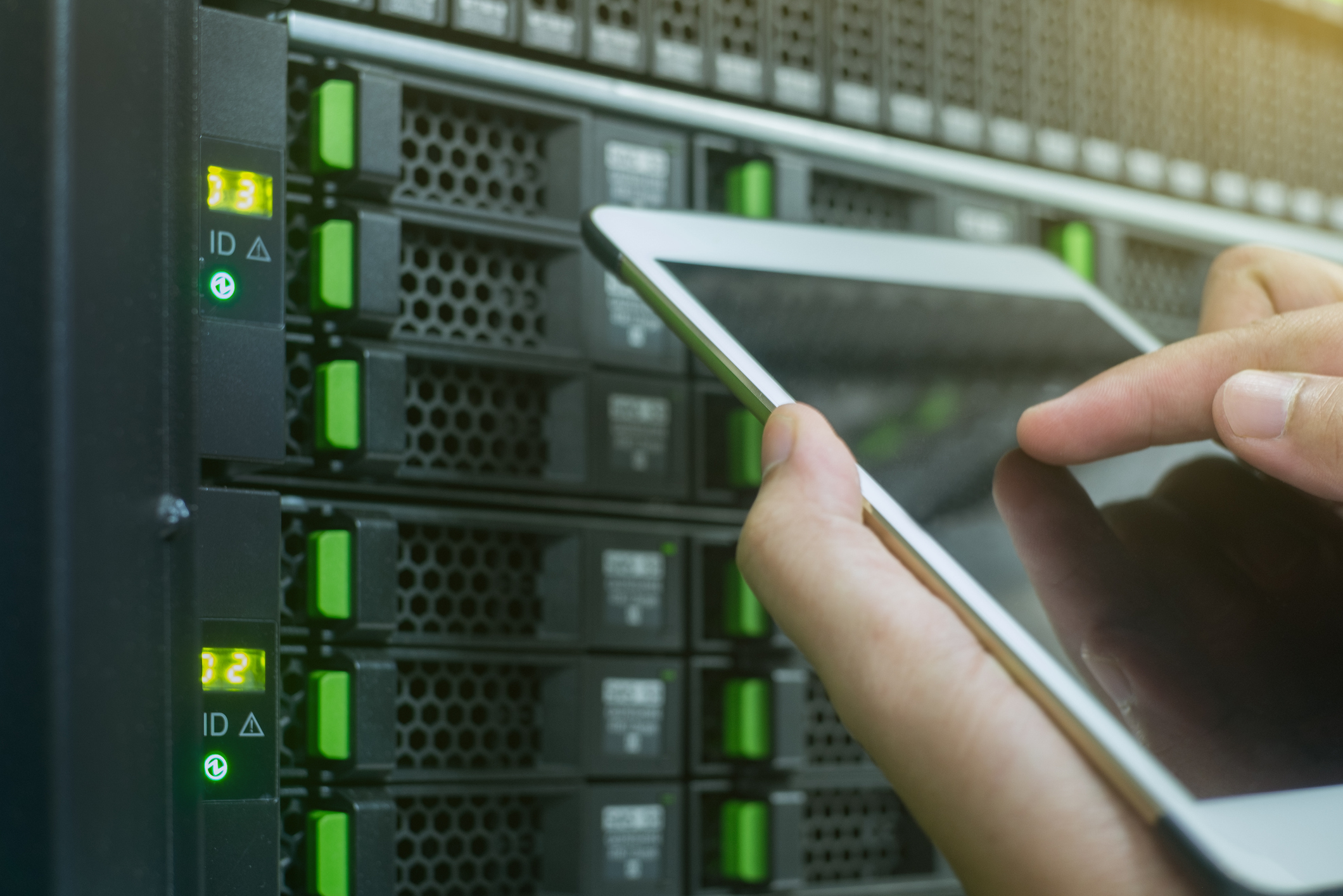 close up use tablet in data center